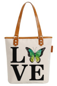So'each Women's Love Butterfly Letters Canvas Tote Pearly Top Handle Shoulder Bag