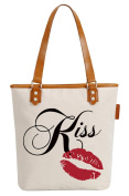 So'each Women's Kiss Lips Letters Canvas Tote Pearly Top Handle Shoulder Bag