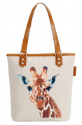 So'each Women's Giraffe Art Painting Canvas Tote Pearly Top Handle Shoulder Bag