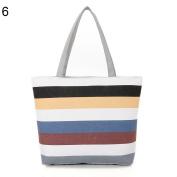 Fashion Canvas Striped Rainbow Prints Shoulder Tote Bag Women Casual Handbag