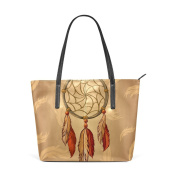 COOSUN Dream Catcher And Feather PU Leather Shoulder bag Purse and handbags Tote Bag for women