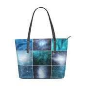 COOSUN Snow Flakes And Stars PU Leather Shoulder bag Purse and handbags Tote Bag for women