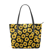 COOSUN Sunflower Pattern PU Leather Shoulder bag Purse and handbags Tote Bag for women