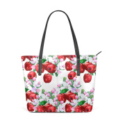 COOSUN Red Apple And Flowers PU Leather Shoulder bag Purse and handbags Tote Bag for women