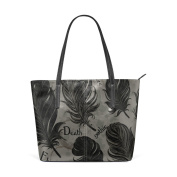 COOSUN Gothic Romantic Black Bird Feathers PU Leather Shoulder bag Purse and handbags Tote Bag for women