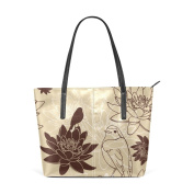 COOSUN Floral And Bird Background PU Leather Shoulder bag Purse and handbags Tote Bag for women