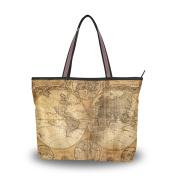 MyDaily Women Tote Shoulder Bag Vintage World Map Handbag Large