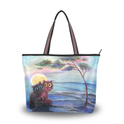 MyDaily Women Tote Shoulder Bag Two Cats Under The Tree Halloween Handbag Large