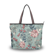 MyDaily Women Tote Shoulder Bag Vintage Flower Floral Handbag Large