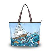 MyDaily Women Tote Shoulder Bag Ship and Sea Fish Handbag Large