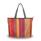 MyDaily Women Tote Shoulder Bag Colourful Striped Vintage Tribal Style Handbag Large
