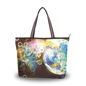 MyDaily Women Tote Shoulder Bag Abstract Colour Astrological Symbol Handbag Large