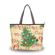 MyDaily Women Tote Shoulder Bag Merry Christmas Tree Handbag Large