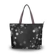 MyDaily Women Tote Shoulder Bag Snowflake Christmas Handbag Large