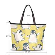 MyDaily Women Tote Shoulder Bag Cute Penguins Handbag Large