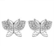 Creative Butterfly Silver Plated Retro Pierced Earrings