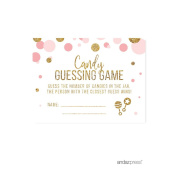 Candy Guessing Game Cards Blush Pink Gold Glitter Baby Shower Game Cards, 30-Pack