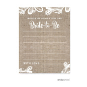 Words of Wisdom Burlap Lace Wedding Bridal Shower Game Cards, 20-Pack