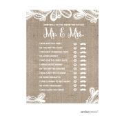 How Well Do You Know The Future Mr./Mrs.. Burlap Lace Wedding Bridal Shower Game Cards, 20-Pack