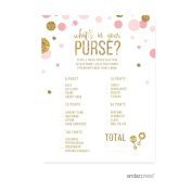 What's in Your Purse. Game Blush Pink Gold Glitter Baby Shower Games, 20-Pack