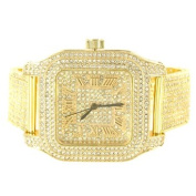 Yellow Gold Finish Lab Created Cubic Zirconia Iced Metal Band Techno Pave Square Watch