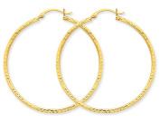 Large Diamond Cut Hoop Earrings in 10K Yellow Gold 1 1/2 inch