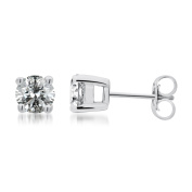 1/2 Ct.t.w Round Diamond Solitaire Stud Earrings in Sterling Silver,