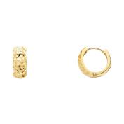 Ladies 14K Solid Yellow Gold 5mm Hoop Huggie Earrings