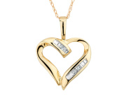 Diamond Heart Pendant Necklace in 10K Yellow Gold with Chain