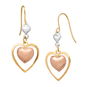 Simply Gold 14kt Tri-Coloured Gold Double Heart Drop Earrings