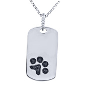 Tender Voices Diamond Accent Paw Tag Pendant in Sterling Silver