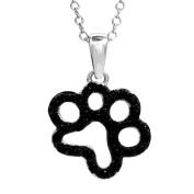 Tender Voices 1/5cttw Black Diamond Open Paw Pendant in Sterling Silver
