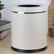 MNII Leather double layer metal creative simple no cover trash cans household living room bedroom kitchen bathroom , white paper cover- Quality Assurance