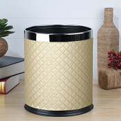 MNII Leather double layer metal creative simple no cover trash cans household living room bedroom kitchen bathroom , diamonds, gold, no cover- Quality Assurance