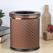 MNII Leather double layer metal creative simple no cover trash cans household living room bedroom kitchen bathroom , diamond with cover- Quality Assurance