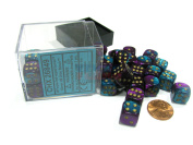 Chessex Gemini 12mm D6 Dice Block (36 Dice) - Purple-Teal with Gold Pips #26849