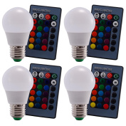 4 PCS 5W E27 16 Colour Choices Changing RGB LED Light Bulb With IR Remote Control Dimmable Decoration