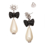 Tory Burch Evie Crystal Stone Statement Drop Earrings Black Bow Pearl Silver Ox - Not on Card