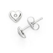 Little Diva Diamonds 925 Sterling Silver Diamond Accent Heart Shaped Stud Earrings for Girls