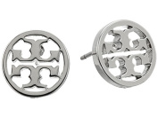 Tory Burch Circle Logo Stud Earrings 16k Silver on Card with Dust Cover