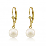 Genuine Freshwater Cultured White 6mm Round Pearl 10K Gold Fleur De Lis Dangl...