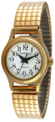 Timetech Women's 14K Gold Plated Stretch Expansion Bracelet Easy To Read Classic Watch 2655L