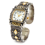 2Tone Western Style Decorated Crystal Band Women's Bangle Cuff Watch