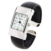Black Silver Snake Style Band Rectangle Case Women's Bangle Cuff Watch