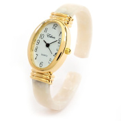 White Pearl Gold Acrylic Band Oval Face Women's Eikon Bangle Cuff WATCH
