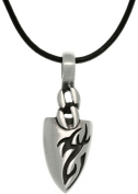 Jewellery Trends Pewter Mens Tattoo Design Arrowhead Pendant on Black Leather Cord Necklace