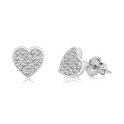 Children's Earrings- 925 Sterling Silver With a White Gold Tone Heart Screwback Children's Earrings Made with Elements kids, children, girls, baby
