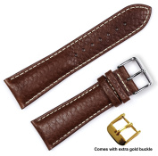 deBeer brand Sport Leather Watch Band (Silver & Gold Buckle) - Brown 22mm