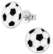 Hypoallergenic Sterling Silver Soccer Ball Stud Earrings for Kids