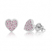 Children's Earrings - 925 Sterling Silver With a White Gold Tone Pink Heart Screwback Children's Earrings Made with Elements kids, children, girls, baby